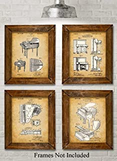 Original Piano Patent Art Prints - Set of Four Photos (8x10) Unframed - Makes a Great Gift Under $20 for Piano Players