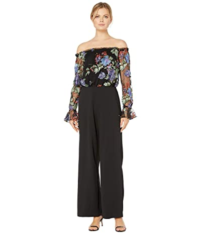 Adrianna Papell Embroidered Off-the-Shoulder Jumpsuit (Black Multi) Women
