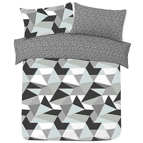 4f005a97c975 Dreamscene Geometric Shapes SINGLE Duvet Cover with Pillowcase Reversible Bedding  Set, Black Grey White