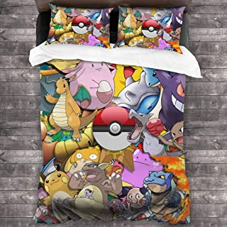 OWIYZWYHS Pokemon Pikachu Luxury Soft Premium Linen, Three-Piece Pillowcase Set, Wrinkle-Resistant and Faded Bedding, Quilt Cover: 90x80in