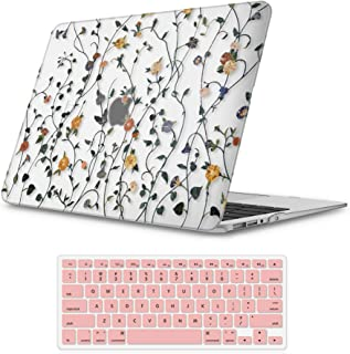 """iLeadon MacBook Air 13 inch Protective Hard Case Rubber Coated Ultra Thin Shell Cover+Keyboard Cover for Older Version MacBook Air 13 inch Model A1369/A1466 (MacBook Air 13"""", Wall Vines)"""
