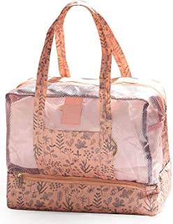 I'll NEVER BE HER Women Swimming Bag Wet and Dry Bags Waterproof Swimsuit Nylon Transparent Swimwear Pool Beach Collection Floral Animal,Pink
