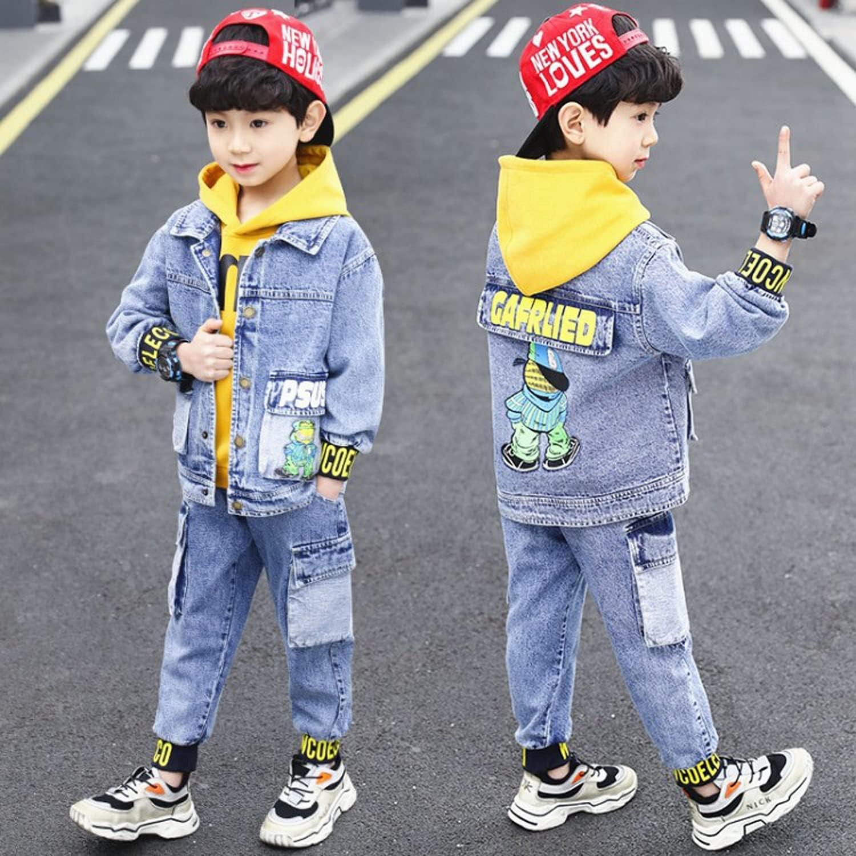 WDSWBEH 3-15 Years Old Autumn Boys' Letter Lapel Denim Coat Three Piece Set, 2021 New Casual Sports Fashion Children's Leisure Suit,Blue,170CM