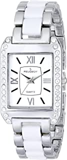 Peugeot Women's 7074WT Crystal-Accented Silver-Tone and White Watch with Link Bracelet
