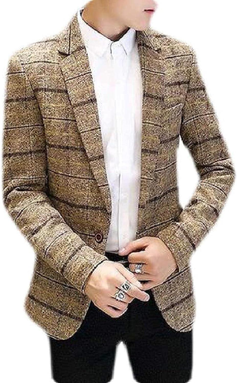 Men's Plaid Print Autumn Winter Casual Regular Fit Dress Blazer Jacket Sport Coat