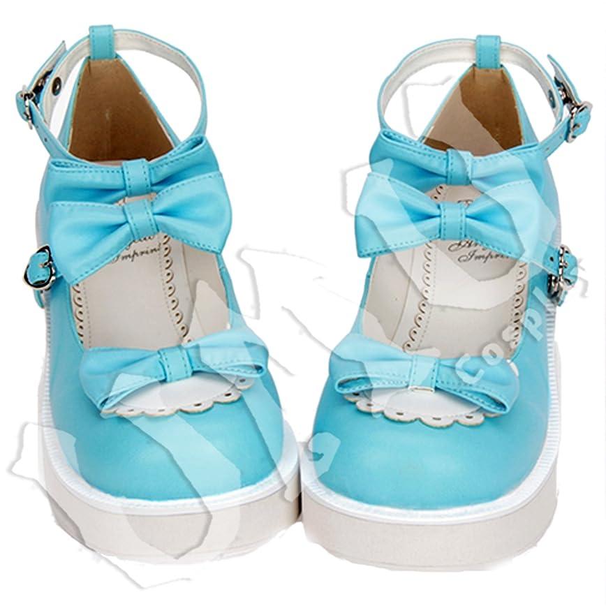 試用どこでもインド【UMU】 LOLITA ロリータ 空色 爽やか リボン 風 靴 ブーツ ブーティ オーダーメイド(ヒール高、材質、靴色は変更可能!) (足23.5cm)