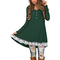 Styleword Long Sleeve Round Neck Lace Tunic Women's Dress