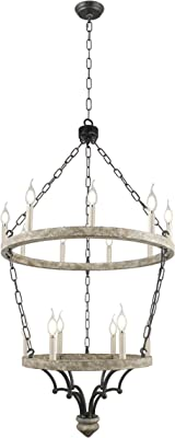 """W25"""" X H48"""" Steel and Wood Frame 2 Tiers Rings Large Lantern Iron Art Design Candle-Style Chandelier Pendant, Foyer,Hallway,Ceiling Light Fixture (Aged Wood Chipped White Rustic)"""
