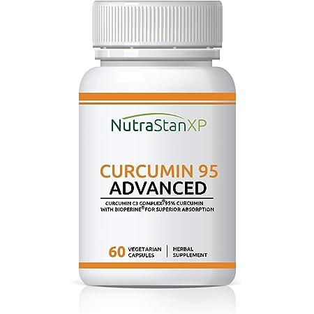 NutrastanXP Curcumin C3 Complex (95% Curcuminoids) 500 mg Turmeric with BioPerine (Piperine) Extract Supplement 5 mg - 60 Vegetarian Capsules