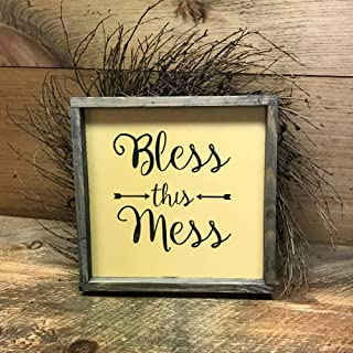 Christmas Framed-Sign 30x30cm Wood Wooden Signs Bless This Mess Funny Christmas Wood Sign Housewarming Gift Gift for Mom Wife Gift Christmas Wood Sign Saying Messy House Quote Signs