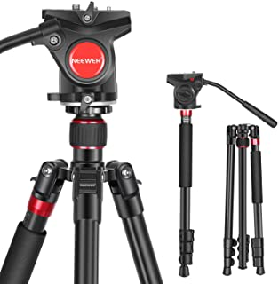 """Neewer 2-in-1 Aluminum Alloy Camera Tripod Monopod 71.2""""/181 cm with 1/4 and 3/8 inch Screws Fluid Drag Pan Head and Carry..."""