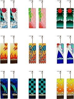 9 Pcs Demon Slayer Anime Tanjiro Drop Dangle Acrylic Earrings Cosplay Jewelry Accessories for Women Men Girls