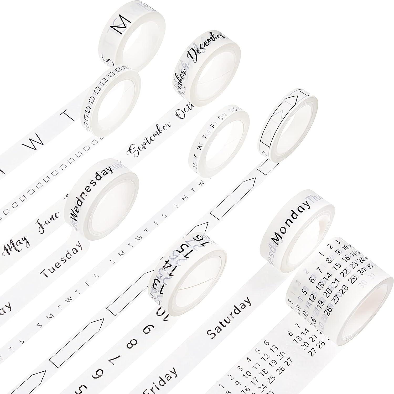 9 Rolls Calendar Washi Tape Set Date Day Week Month Number Calendar Washi Masking Tape Decorative Patterned Marking Tape for Arts Crafts Journal Planner