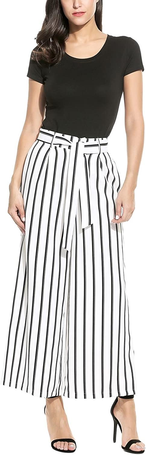 Bifast Women Fashion Casual Loose Wide Leg Striped High Waist Palazzo Pants with Belt SXXL