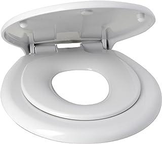 Asiento de inodoro familiar con asiento reductor infantil y cierre suave.