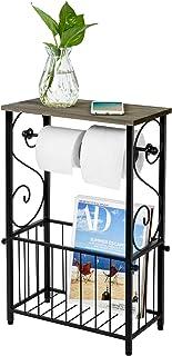 MyGift Black Metal Scroll Design Bathroom Toilet Paper Roll Holder with Gray Wood Storage Shelf & Magazine Basket