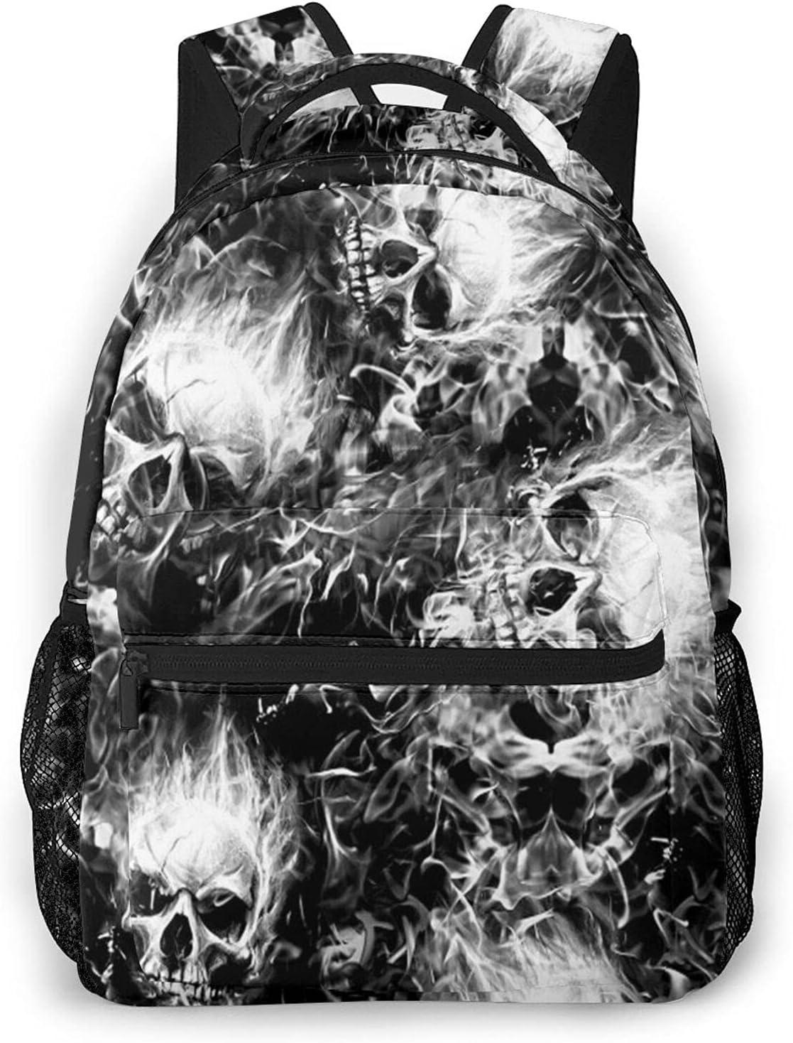 Flaming Skulls Bombing new work Travel Daypack Boston Mall Student L Rucksack Laptop Backpack