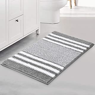 Bsicpro Chenille Bath Rug for Bathroom Shaggy Mat Shower Mats 24 x 16inch Super Non Slip Water Absorbent Carpet Stripe Pat...