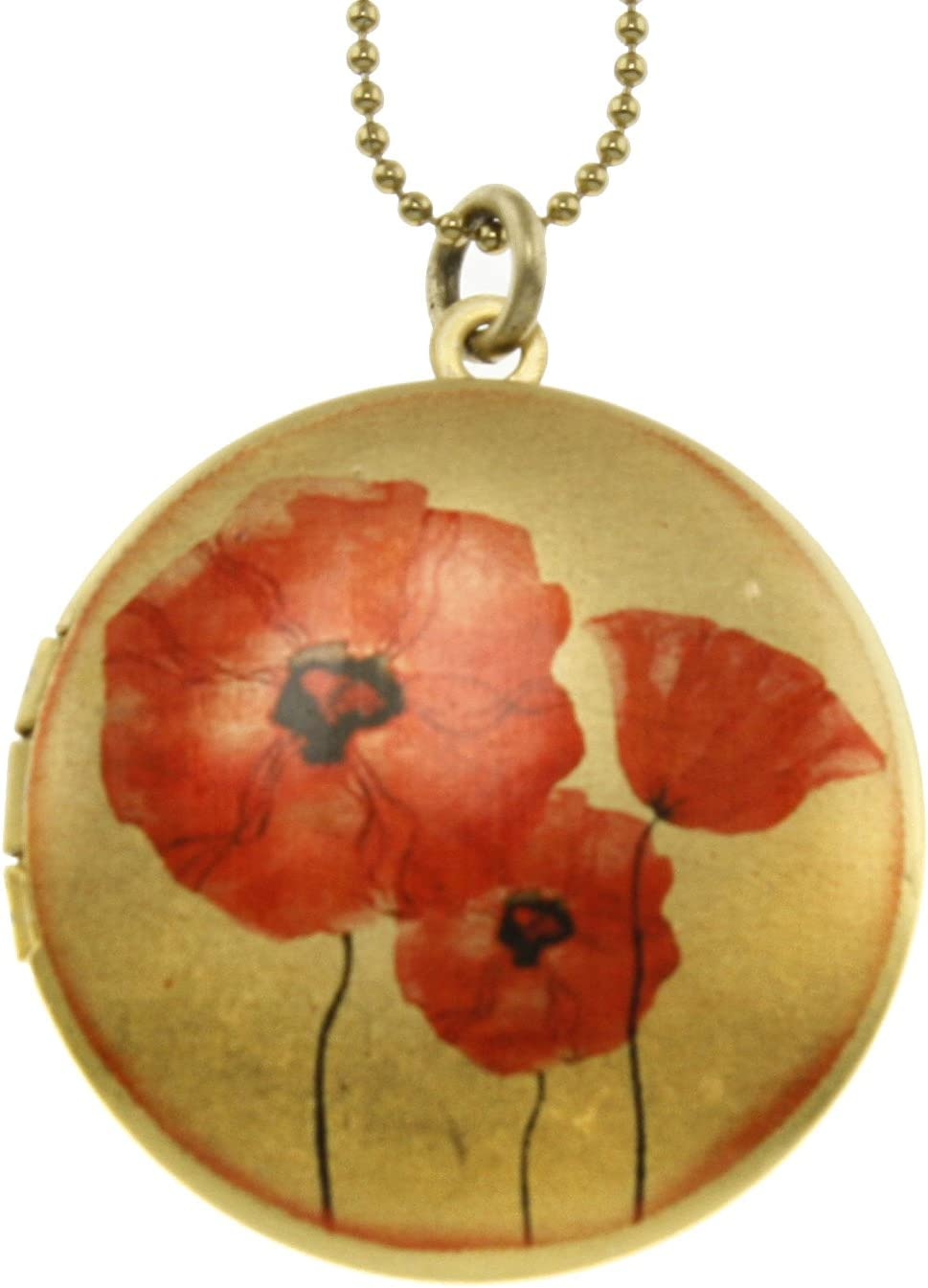 Red low-pricing Poppies Flower Max 41% OFF Brass Photo Pendant - Art Locket