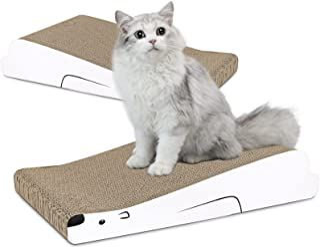 ComSaf 猫 つめとぎ 段ボール シロクマ型 爪とぎ ベッド 斜め式 波型 爪研ぎ サークル 耐久 2枚入り