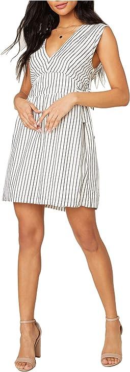 Yarn-Dye Rayon Stripe Dress with Waist Ties