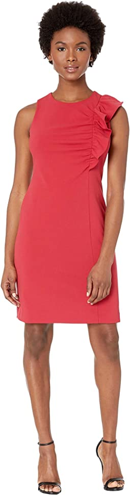 Petite Sleeveless Asymmetrical Ruffle Front Ponte Dress