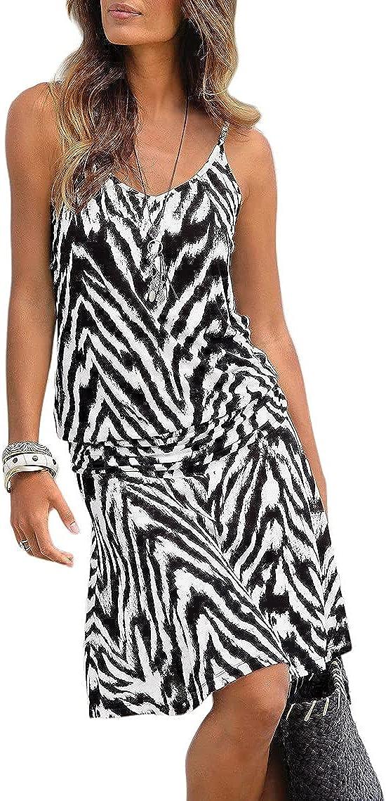 LASCANA Casual Tank Dress, Zebra, Summer Dresses for Women Beach wear Females Animal Print Midi Dress