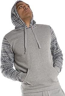 Men's Heather Fleece Hoodie Pullover Sweatshirts Aztec Printe Long Sleeves