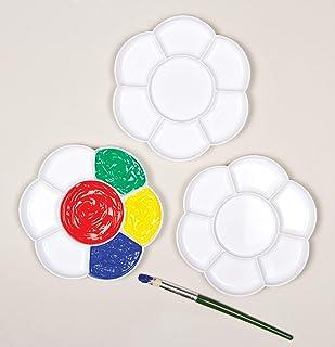 Baker Ross Lot de 3 Palettes de Peinture en Forme de Fleur avec 7 Pots de Couleurs pour Peinture et Travaux Manuels AF994