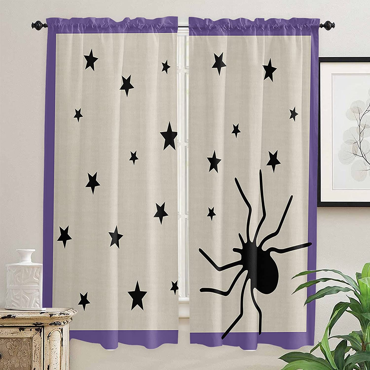 Black Miami Mall Animal Kitchen Curtains ! Super beauty product restock quality top! 72 Length Inch Purple Windows for
