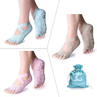 Non Slip Yoga Socks for Women, Toeless Anti-Skid Pilates, Barre, Ballet, Bikram Workout Socks with Grips