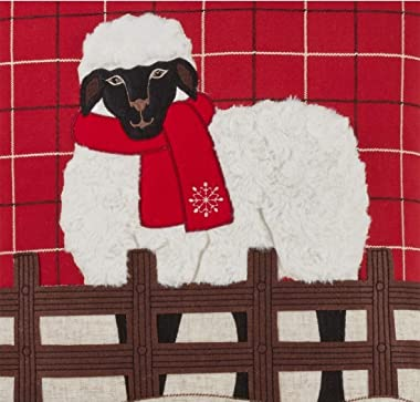 Fennco Styles Christmas Plaid Sheep Applique Decorative Throw Pillow Cover 18 x 18 Inch - Red Holiday Pillow Case for Couch,