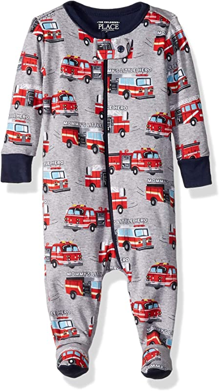 The Children S Place Baby Boys All Around Printed Footed Stretchie