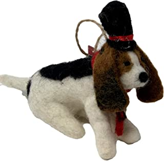 Pottery Barn Felt Basset Hound or Beagle in Top Hat and Tie Christmas Tree Holiday Ornament