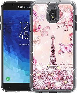 HAIWEN Galaxy J7 2018 Case, J7 Refine/J7 Star/J7 Eon/J7 Top/J7 Aero/J7 Crown/J7 Aura/J7 V 2nd Gen Case, Romantic Flowers with Rose Golden Glitter Bling Quicksand, TPU Protective Case Cover(Pink)