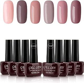 Gellen Pastel Nudes Gel Colors Nail Polish - 6 Colors With Top Coat Base Coat 8ml Each Soak Off Nail Art Home Gel Manicure Kit