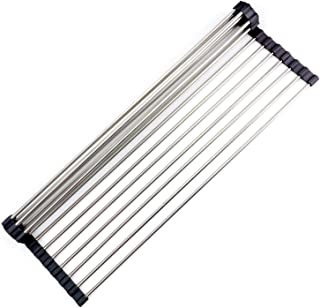 Retractable roll up sink drying rack, Multi-purpose foldable dish drainer suitable for kitchen sink, Best durable stainless steel manufacture detachable