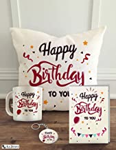 "ALDIVO Happy Birthday to You Combo Gift Pack (12"" x 12"" Cushion Cover with Filler + Printed Coffee Mug + Greeting Card + Printed Key Ring)"