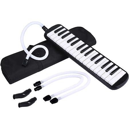 Asmuse Melodica 32 Teclas Set de Teclado Instrumento de Acordeón de órgano con 4 Boquillas (2 extendidas + 2 cortas) y Paño de Limpieza, Bolsa para Transporte para Principiantes Niños Regalo Musical