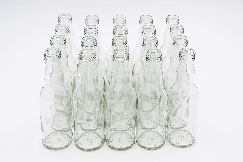 20 botellas de cristal vacías con cierre de rosca de 200 ml, color blanco, 28 MCA, para rellenar como botellas de zumo, sirope, botellas de licor de 0,2 litros con cierre blanco