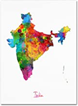 India Watercolor Map by Michael Tompsett, 24x32-Inch Canvas Wall Art