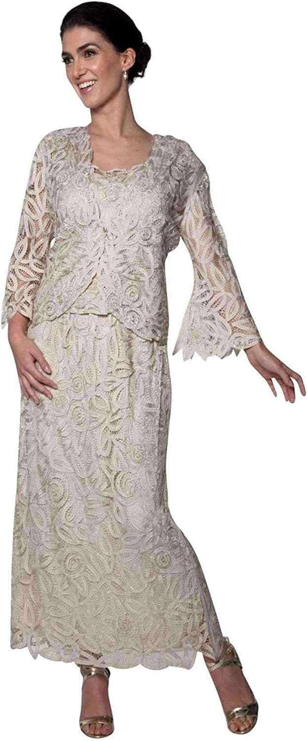 Soulmates  D7107 Hand Crochet 3 4 Bell Sleeve Three Piece Evening Gown