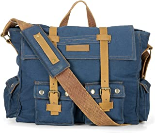 The House of Tara Combat Blue Large Solid Canvas Messenger Bag with Padded Partition for Men and Women (HTMB 03_Blue)