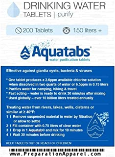 Aquatabs 200 Pack - World's #1 Water Purification Tablets