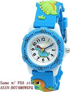 Mixe Waterproof 3D Cute Cartoon Digital Silicone Wristwatches Time Teacher Gift for Little Girls Boys Kids Children (Light Blue Dinosaurs)