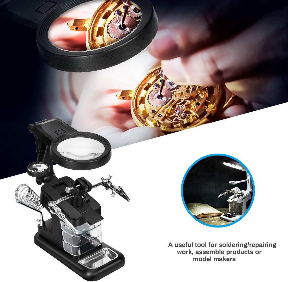 ensamblaje Powcan Lupa de soldadura multifuncional 3X // 4,5X // 25X Lupa de manos con ayuda de luz LED con pinza y pinzas de cocodrilo-Lupa para soldadura negro reparaci/ón y modelado,lupa lectura