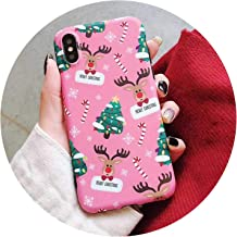 Christmas Tree Dear Case for iPhone Xs Max Xr Xs X 6 6S 7 8 Plus Soft Imd Cute Protective Phone Back Cover Coque Gift,A,for iPhone X