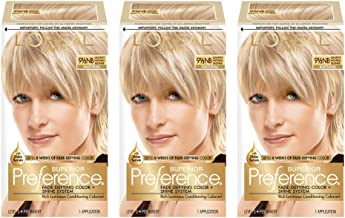 L'Oreal Paris Superior Preference Fade-Defying + Shine Permanent Hair Color, 9.5N Lightest Natural Blonde, Pack of 3, Hair Dye