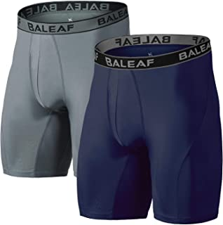 9 Inches Men's Active Underwear Sports Performance Boxer Briefs Cool Dry Open Fly (2-Pack)