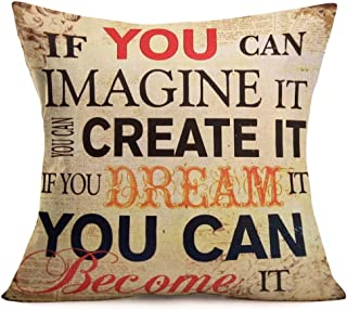 ShareJ Inspirational Quote Throw Pillow Covers If You Can Image it/You Can Create it/If You Dream it/You Can Become it Decorative Square Pillow Cases 18